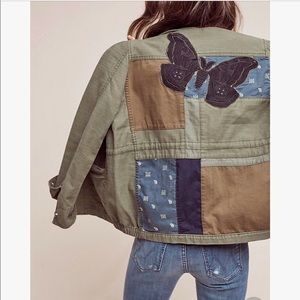 Anthropologie Patched Butterfly Utility Jacket, S